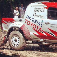 Giniel De Villiers (3rd place at Dakar Rally this year) kicking up plenty of clay at #Goodwood forest rally stage with his South African built #Toyota Hilux - @kryptonzone- #webstagram