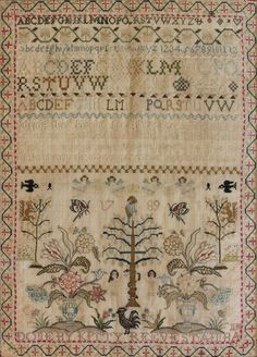 A George III fine needlework sampler, 'Done by Kitty Reeve...?' ~ dated 1789 ~ the bands of letters, numbers and verse above Adam and Eve flower-charged urns, trees, squirrels, birds and butterflies, worked with colored silks in long, short and cross stitch