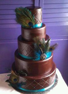 Chocolate fondant peacock inspired wedding cake created by Shannon Pilarski