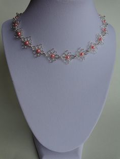 Flor collar collar de perlas filigrana por IrisJewelryCreations