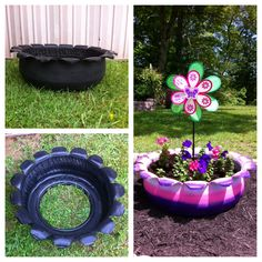 Recycled tire to flower bed for our daughter.