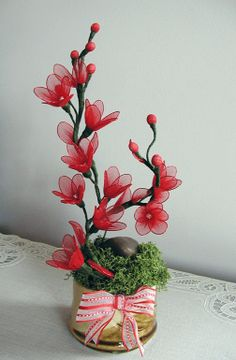 Ręcznie Porozumienie Red Cherry Blossom
