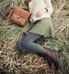 I love everything about this. The color of the skirt is one of my favorites. The sweater pairs perfectly with it and the bag is a perfect color