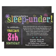 Birthday Invitation SleepUNDER Party Neon 9 Year Olds Boy Parties