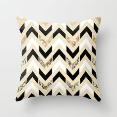 Black, White & Gold Glitter Herringbone Chevron on Nude Cream Throw Pillow by Tangerine-Tane