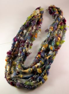 Items similar to SeaHorses Neckware with Handspun Art yarn- Textile Couture, FiberArt to Wear on Etsy Fiber Art Jewelry, Textile Jewelry, Fabric Jewelry, Jewelry Art, Jewellery, Yarn Necklace, Fabric Necklace, Textiles, Yarn Inspiration