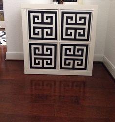 O'verlays Greek Key squares on the Ikea Hemnes Shoe Cabinet