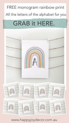 Created it in gorgeous neutral colours, so it's a perfect colour palette for everyone.You could print Neutral Colors, Colours, Personalised Cushions, Free Monogram, Personalized Wall Art, Binder Covers, Rainbow Print, Playroom Decor, Cool Baby Stuff
