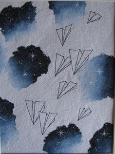 Watercolor night sky and Paper Airplanes