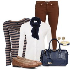 Brown & Navy Fall, created by angelysty on Polyvore