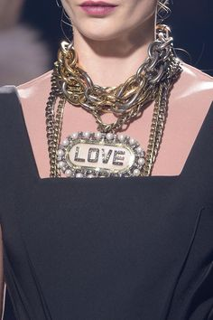 Choker necklace runway fall 2013 - We've got the look!!! Shop www.PrimoJewels.com for LOVE necklaces!!!