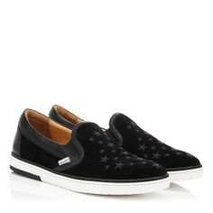 Jimmy Choo - Grove - 141grovedgt - Black Suede with Black Glitter Star Slip On Trainers