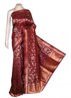Purple Rust Pure Silk Banarasi Saree