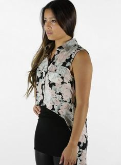 Mink Pink Wintergarden High-Low Shirt in Multi,  Top, Collar Button-Up Blouse Flap Pockets Floral, Bohemian (Boho) / Hippie