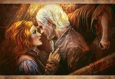 Geralt and Triss in Kaer Morhen by JustAnoR.deviantart.com on @deviantART