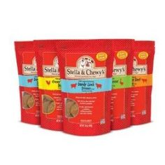 Stella & Chewy's Freeze-Dried Food for Dogs and cats!!, 16oz (Variety Pack of 5).  Stella Beef, Surf & Turf, Chicken, Lamb and Duck. We've tried this food with our cats and they love the chicken, and Beef!