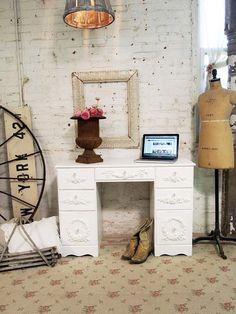 Painted Cottage Chic Shabby White French Desk by paintedcottages, $275.00