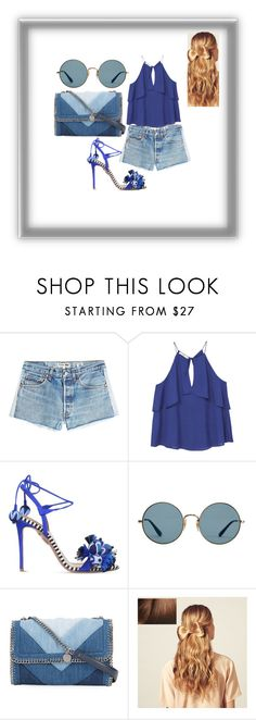 """""""Findings"""" by swinxrose ❤ liked on Polyvore featuring RE/DONE, MANGO, Aquazzura, Ray-Ban, STELLA McCARTNEY and Hershesons"""