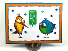 Linda Vich Creates: Crazy Birds Birthday Card. Brilliant distress inks bring the Tim Holtz Crazy Birds stamps to life in this 65th birthday card.