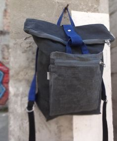 31d5384d4555 Beautiful Bags · Waxed canvas backpack with front pocket. Cotton lining  with inside pockets and one zipped removable