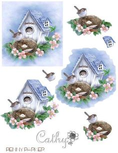 vogel huisje. 3d Cards, Paper Cards, Hobbies And Crafts, Diy And Crafts, Decoupage Printables, 3d Sheets, 3d Paper Crafts, 3d Prints, Printable Designs