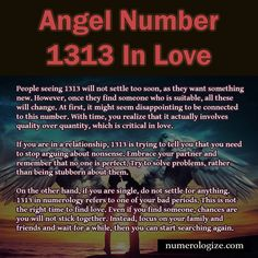 Angel number 1313 is just one of the few composed numbers that can tell you what to do or which way to go in your life. Angel Number Meanings, Angel Numbers, Numerology Numbers, Numerology Chart, 1331 Angel Number, 1313 Meaning, Seeing Repeating Numbers, Angel Guidance, Self Love Affirmations