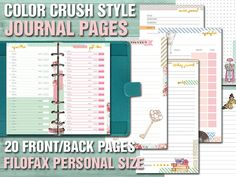 Color crush style printables journal pages - filofax personal size