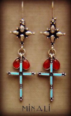Cross - Silver Cross & Carnelian Bohemian Earrings - product images