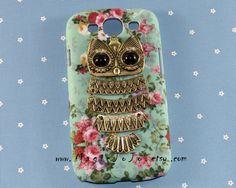 Antique+bronze+owl+Samsung+CaseFlowers+Samsung+Galaxy+by+MagicJoJo,+$12.99