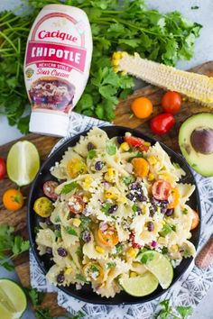 Mexican Inspired Pasta Salad- this quick and easy vegetarian pasta salad is the perfect party dish or weeknight meal with delicious leftovers! Vegetarian Pasta Salad, Vegan Vegetarian, Vegetarian Recipes, Cooking Recipes, Healthy Meal Prep, Healthy Salad Recipes, Party Dishes, Mexican Dishes, Weeknight Meals