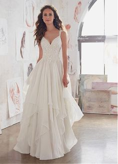 Buy discount Amazing Tulle & Chiffon V-Neck A-Line Wedding Dresses With Beaded Lace Appliques at Laurenbridal.com