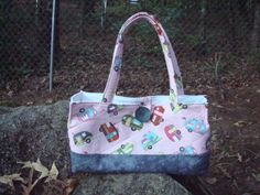 Pink retro camper Trailer Quilted Bag Tote Purse by Jackiesewingstudio on Etsy