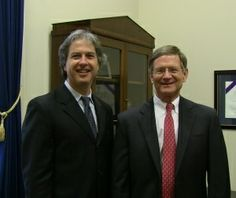 On Capitol Hill - Dr Kaylen SIlverberg and Congressman Lamar Smith (TX-R) San Antonio 21st District