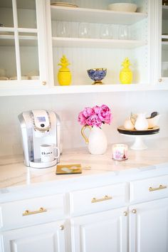 The Sweetest Thing | Beautiful and bright coffee bar. Need this in my kitchen!