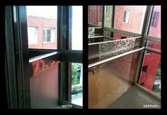 Aplicación inoxta tipo mosaico en cabina!  antes y despues!