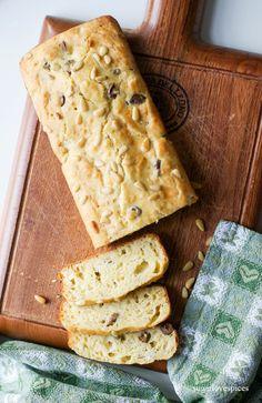 Herb and Olive Ricotta Loaf – SugarLoveSpices [milk, ricotta, ap flour, eggs, black olives eg. Gaeta, Asiago cheese, rosemary, oregano, pine nuts]