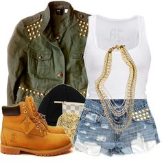 A fashion look from July 2012 featuring american eagle outfitters shirts, studded military jacket and tie dye high waisted shorts. Browse and shop related looks.