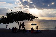 Sunset at Doctor´s Cave Beach in Montego Bay Jamaica