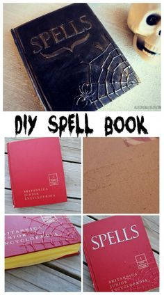 diy halloween spell book made with hot glue, paint and chipboard