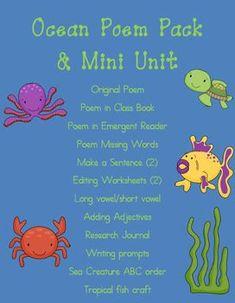 Ocean poem pack & mini unit