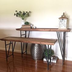 Low Line Timber & Metal Console/Bench/Narrow Hall Table/Industrial/Urban Style