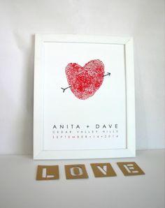 Custom Couples Fingerprint Heart Sign - Valentine Heart Art - Guest Book Alternative or Wedding Gift -