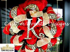 Deco Mesh Red with Leopard Wreath on Etsy, $85.00