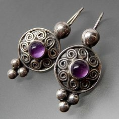 Vintage Amethyst Cabochon Swirls Beaded Sterling Silver Kidney Wire Ea – Gold Stream Boutique