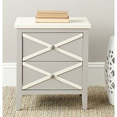 Safavieh American Homes Collection Sherrilyn 2-Drawer Side Table, Grey…