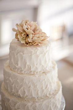 """wedding cake - the icing style is cute and more """"rustic"""" than the fondant look"""
