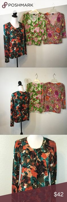 Talbots Women's Cardigan Sweater Lot Of 3 Talbots Women's Cardigan Sweater Lot Of 3 Size Medium Bundle Floral  You're getting 3 button-down cardigan sweater tops three-quarter length sleeve Measurements From top of shoulder to bottom 26 inches Under the arm to under arm seam 19 inches Talbots Sweaters Cardigans