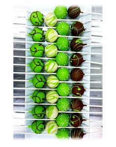 Pretty Lime Green and Chocolate Swirly Icing Cake Pops