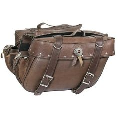 Motorcycle Saddlebags Distressed Brown Leather - Bigfoottrading Inc
