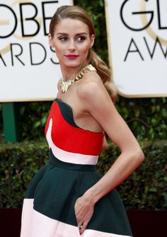 Olivia Palermo goes against the norm for the 73rd Golden Globe Awards held at the Beverly Hilton Hotel on January 10, 2016 in a Delpozo midi dress and ankle-strap sandals.